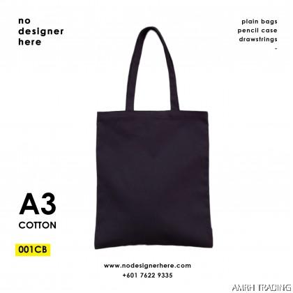 CODE: 001CB  (Cotton A3 size Black Tote Bag)